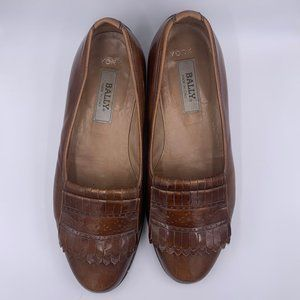 Bally - York Brown Leather Fringe Flats 10 D